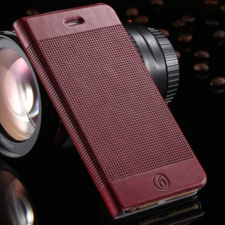 Gold Luxury Elegent Grid Pattern Flip Leather Case For Iphone 6 4. 32213365686-5-Wine Red