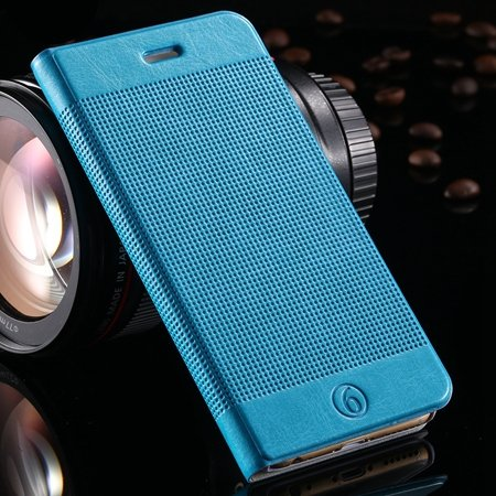 Gold Luxury Elegent Grid Pattern Flip Leather Case For Iphone 6 4. 32213365686-7-Sky Blue