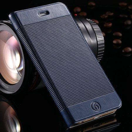 Gold Luxury Elegent Grid Pattern Flip Leather Case For Iphone 6 4. 32213365686-8-Dark Blue