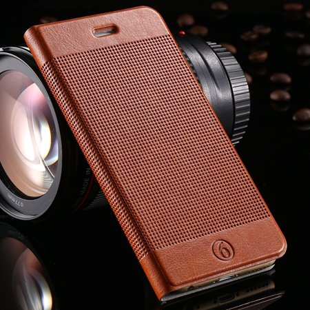 Gold Luxury Elegent Grid Pattern Flip Leather Case For Iphone 6 4. 32213365686-9-Brown