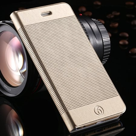 Gold Luxury Elegent Grid Pattern Flip Leather Case For Iphone 6 4. 32213365686-11-Gold