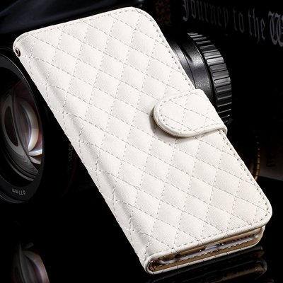 For Iphone 6 Case Vintage Luxury Sheapskin Grid Flip Leather Case  32258496057-2-White