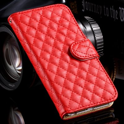 For Iphone 6 Case Vintage Luxury Sheapskin Grid Flip Leather Case  32258496057-3-Red