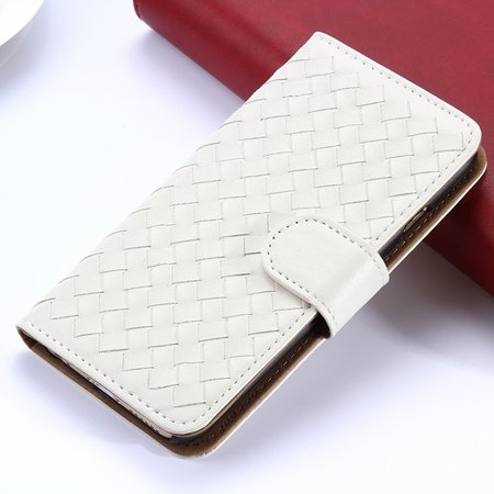 2015 Newest Cute Girl'S Pink Weave Flip Pu Leather Case For Iphone 32271815169-3-White
