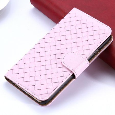 2015 Newest Cute Girl'S Pink Weave Flip Pu Leather Case For Iphone 32271815169-4-Pink