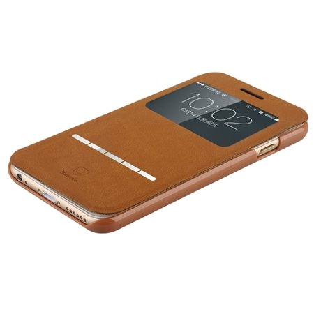 For Iphone 6 Smart Case Gold Luxury Open Window View Pu Leather Ca 32262312822-1-Brown