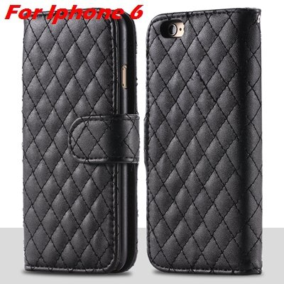For Iphone 6 Case Vintage Luxury Business Sheapskin Grid Leather C 32257953439-1-Black for Iphone 6