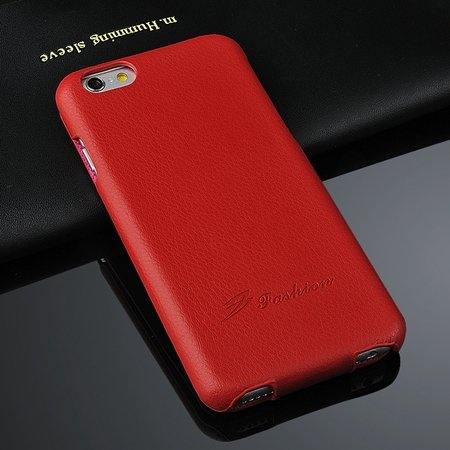For Iphone 6 Case Luxury Lychee Pattern Geniune Flip Leather Case  2045879452-3-Red