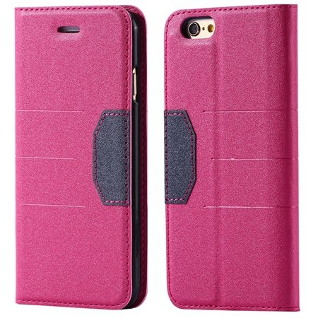 """Gold Retro Luxury Cool Pu Leather Case For Iphone 6 4.7"""""""" Flip Phon 32256236913-5-Hot Pink"""
