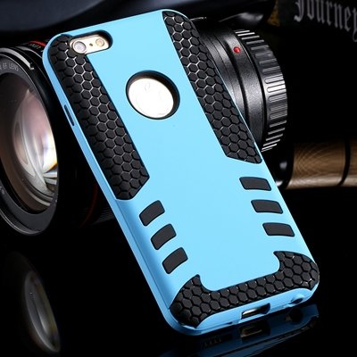 Retro Cool High Quality Hybrid Pc + Silicone Hard Case For Iphone  32255788845-1-Sky Blue