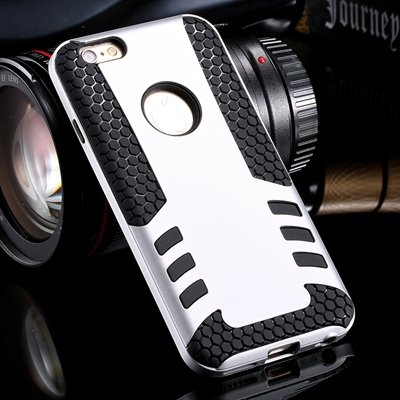 Retro Cool High Quality Hybrid Pc + Silicone Hard Case For Iphone  32255788845-3-Sliver
