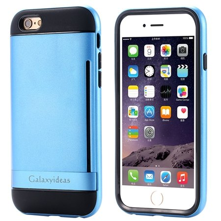 For Iphone6 Kickstand Card Slot Pc + Tpu Hybird Armor Case For Iph 32305097639-6-Sky Blue