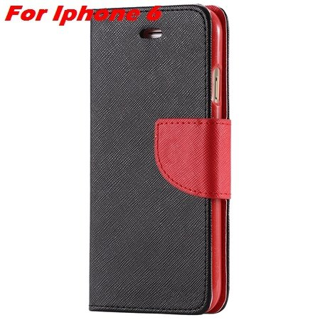 New Retro Flip Leather Case For Iphone 6 Plus & Iphone 6 Flip Case 2051510402-4-Black Red For Iphon6