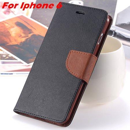 New Retro Flip Leather Case For Iphone 6 Plus & Iphone 6 Flip Case 2051510402-7-Black Brown For Iph6