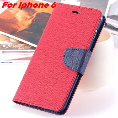 New Retro Flip Leather Case For Iphone 6 Plus & Iphone 6 Flip Case 2051510402-8-Red For Iphone 6