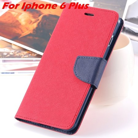 New Retro Flip Leather Case For Iphone 6 Plus & Iphone 6 Flip Case 2051510402-15-Red For I6 Plus