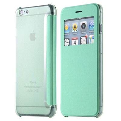 Original Smart Clear Open Window Pu Leather Case For Iphone 6 Plus 32256421588-4-Sky Blue