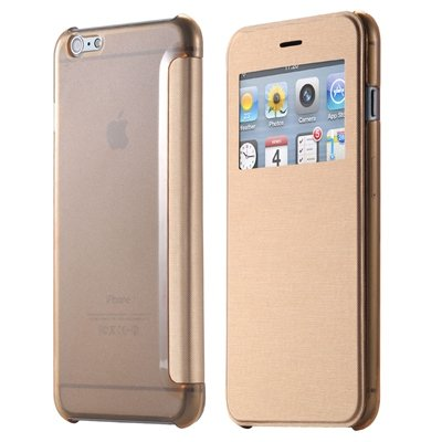 Original Smart Clear Open Window Pu Leather Case For Iphone 6 Plus 32256421588-8-Gold