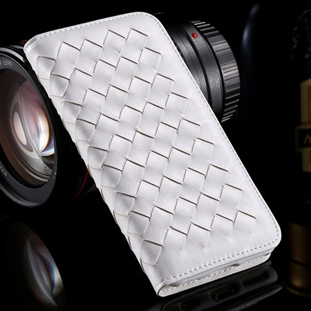For Iphone6 Plus Leather Case Retro Luxury Handmade Waving Leather 32265433686-2-White