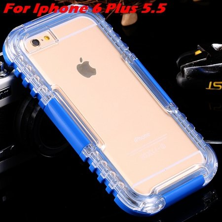 For Iphone 6 Plus Waterproof Case Hot Hard Pc + Soft Silicone Hybi 32276690163-8-Blue For I6 Plus