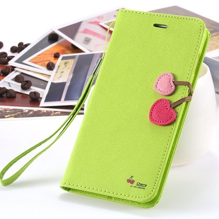 New Arrival Cherry Luxury Leather Case For Iphone 6 Plus Flip Stan 2054471028-3-Green