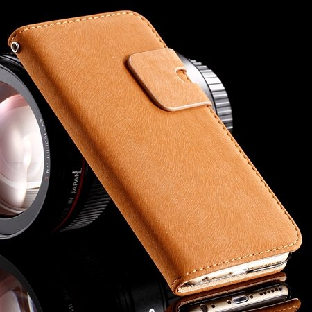 Retro Luxury Crad Slot Stand Wallet Flip Leather Case For Iphone 6 32237833397-5-Brown