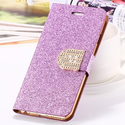 2015 New Arrival Luxury Shiny Gold Diamond Leather Case For Iphone 32267710327-4-Purple