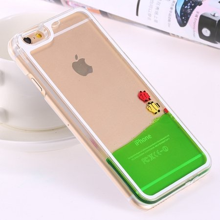 For Iphone 6 5.5 Clear Case Cute Funny Liquid Fish Hard Back Case  32279336434-1-Green Fish