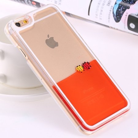 For Iphone 6 5.5 Clear Case Cute Funny Liquid Fish Hard Back Case  32279336434-2-Orange Fish