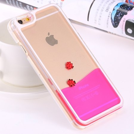 For Iphone 6 5.5 Clear Case Cute Funny Liquid Fish Hard Back Case  32279336434-4-Hot Pink Fish