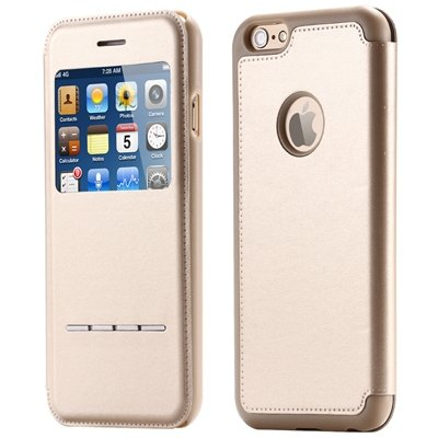 Luxury Front Window Smart Pu Leather Case For Iphone 6 Plus Flip F 32266078587-4-Gold
