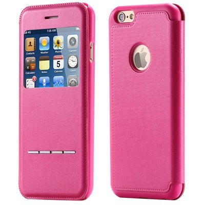 Luxury Front Window Smart Pu Leather Case For Iphone 6 Plus Flip F 32266078587-5-Hot Pink