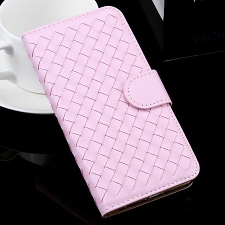 For Iphone 6 Plus Wallet Case Lovely Cute Pink Weave Flip Pu Leath 32271386653-3-Pink