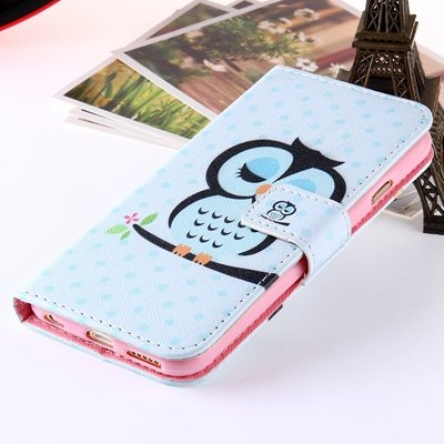 Girl'S Cute Pink Leather Case For Iphone 6 Plus Flip Cases Stand C 32254589707-3-Sky Blue Owls