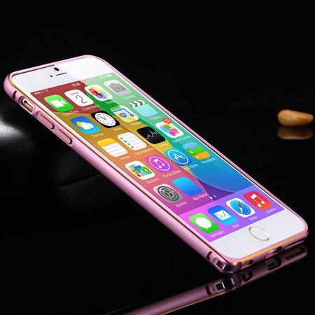 1Pcs/Lot Newest Double Color Metal Phone Cases For Iphone 6 Plus 5 32213408945-2-Gold and Pink