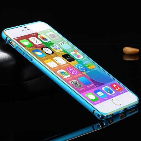 1Pcs/Lot Newest Double Color Metal Phone Cases For Iphone 6 Plus 5 32213408945-3-Gold and Blue