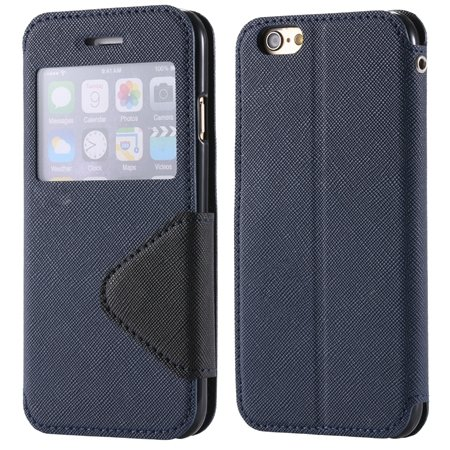 New Arrival Pu Leather Case View Window Flip Stand Wallet For Ipho 32255188926-1-Dark Blue