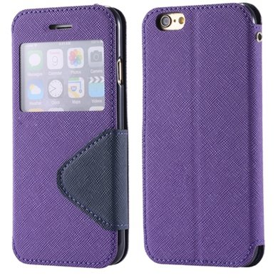 New Arrival Pu Leather Case View Window Flip Stand Wallet For Ipho 32255188926-3-Purple