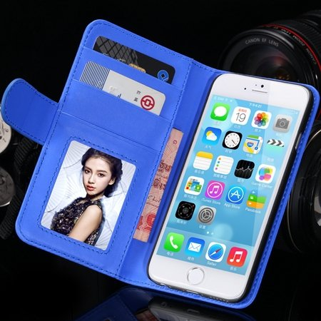 2014 Hot Retro Photo Frame Flip Pu Leather Case For Iphone 6 Plus  32213753290-5-Blue