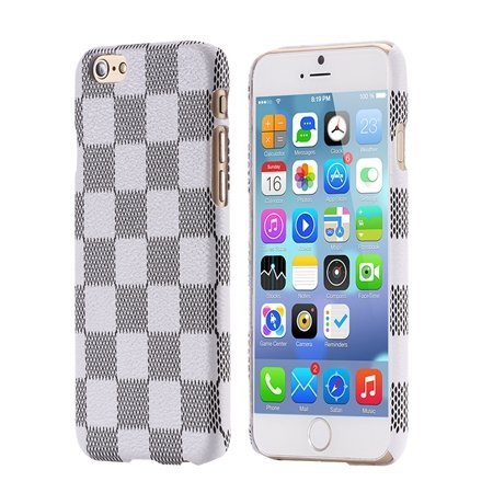 For Iphone 6 Plus Case Luxury Classic Grid Pattern Flip Leather Ca 32259784575-2-White