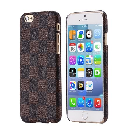 For Iphone 6 Plus Case Luxury Classic Grid Pattern Flip Leather Ca 32259784575-3-Brown