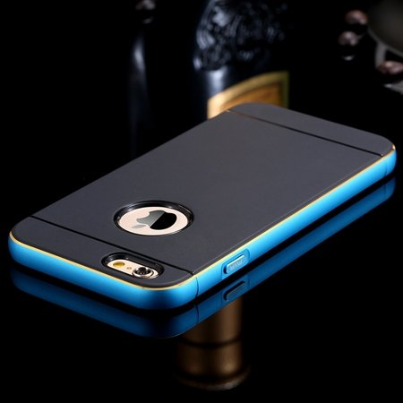 Gold Luxury Metal + Tpu Hybrid Case For Iphone 6 Plus 5.5Inch Cell 32271430212-4-Blue