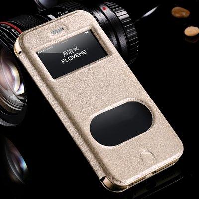 Luxury Flip Genuine Leather Case For Iphone 6 Plus Smart Cover For 32288501017-3-Gold