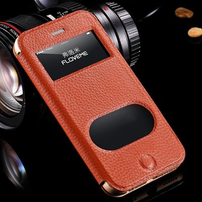 Luxury Flip Genuine Leather Case For Iphone 6 Plus Smart Cover For 32288501017-4-Brown