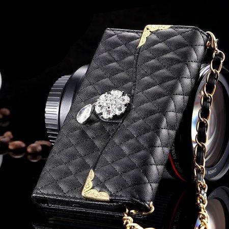 For Iphone 6 Plus Wallet Case Retro Luxury Shiny Gold Diamond Grid 32267999985-1-Black