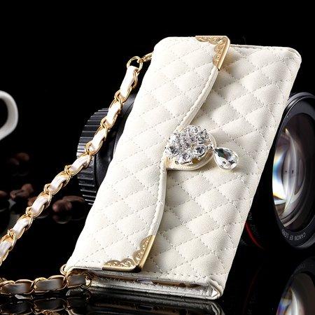 For Iphone 6 Plus Wallet Case Retro Luxury Shiny Gold Diamond Grid 32267999985-2-White