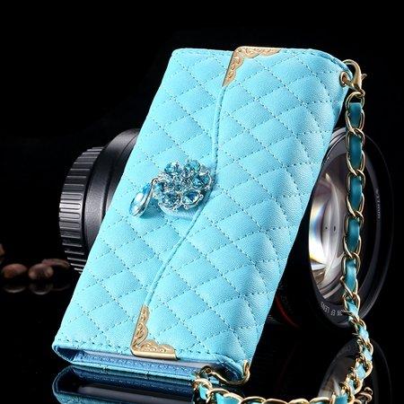 For Iphone 6 Plus Wallet Case Retro Luxury Shiny Gold Diamond Grid 32267999985-4-Sky Blue