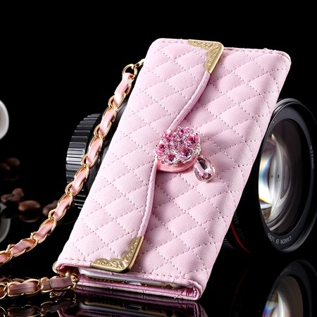 For Iphone 6 Plus Wallet Case Retro Luxury Shiny Gold Diamond Grid 32267999985-7-Pink