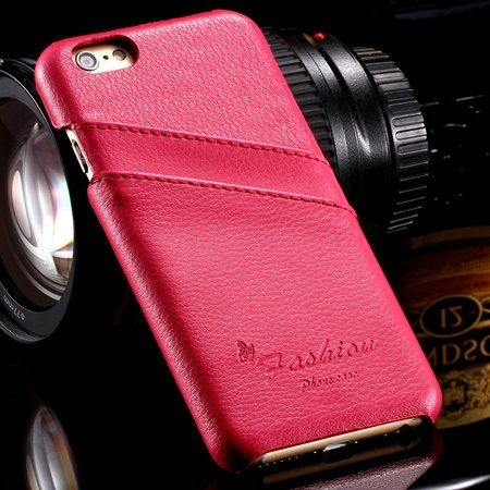 For Iphone 6 Plus Hard Back Case Luxury Lychee Genuine Leather Cas 32270451064-4-Hot Pink