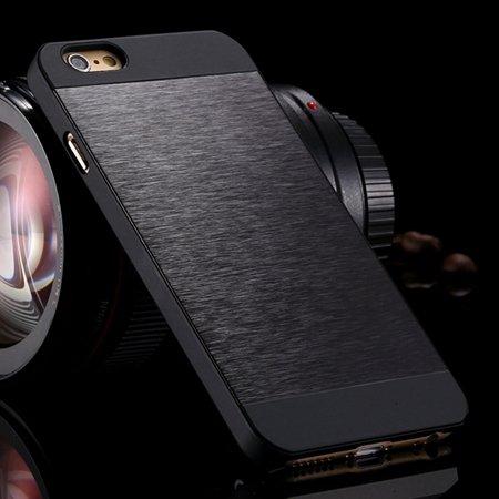 """Luxury Retro Aluminum Bursh Metal Case For Iphone 6 Plus 5.5"""""""" Cell 32270355739-9-Black"""
